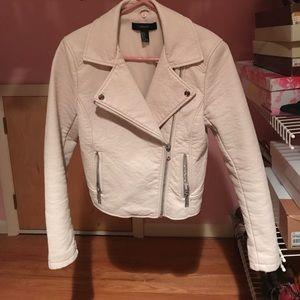 Jackets & Blazers - White cream synthetic leather jacket